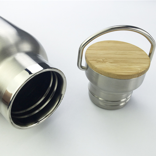 Bamboo Trimmed Stainless Steel Bottle