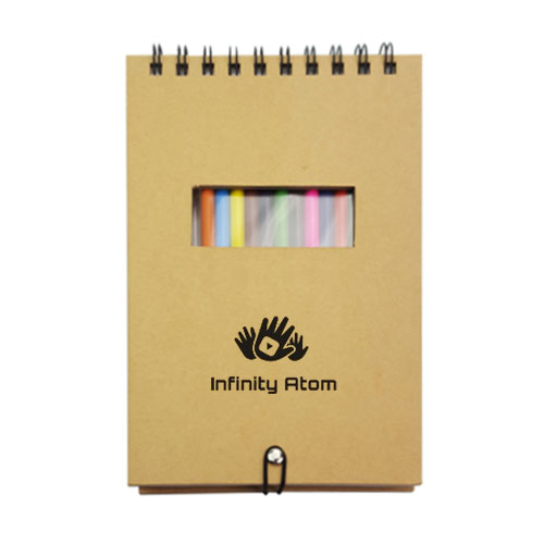 Notebook with Colorful Pencil